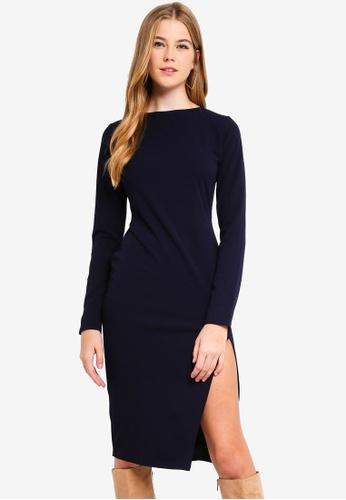 79acd144b6 Buy MISSGUIDED Long Sleeve Slit Midi Dress Online   ZALORA Malaysia