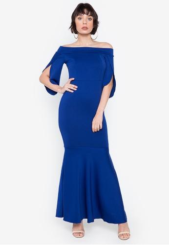 Hug blue Danna Off-shoulder Tulip Accent Dress 29EF6AA6E8F722GS_1