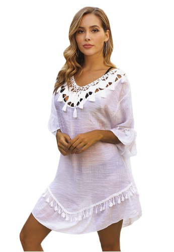 LYCKA white LTH4158-European Style Beach Casual Outer Dress-White D4F96US6DF0122GS_1