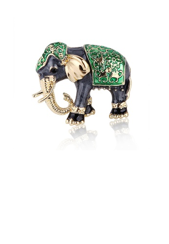 Glamorousky black Fashion Creative Exotic Green Elephant Brooch with Cubic Zirconia FA806ACC1D7311GS_1
