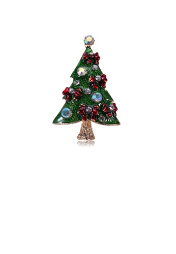 Glamorousky white Fashion and Elegant Plated Gold Ribbon Christmas Tree Brooch with Cubic Zirconia 1122AAC28D0F8DGS_1