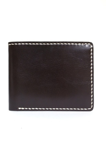 IXACC brown Italian Leather Hand Stitched Billfold Wallet IX982AC99FHKPH_1
