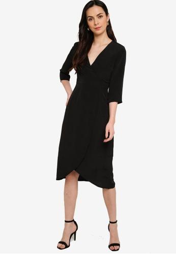 ZALORA WORK black Wrap Front Tulip Skirt Dress 29191AA6DFDB07GS_1