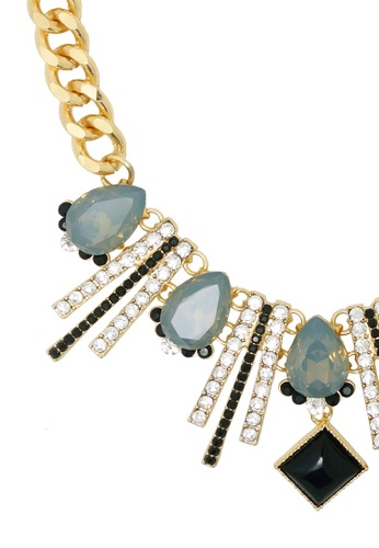 Jaysa Collection gold Radiant Rays Necklace With Clear Crystals JA875AC0GQA0SG_1