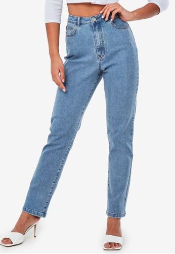 MISSGUIDED 藍色 Highwaisted Stretch Straight Leg Jeans B58FDAA4C76936GS_1