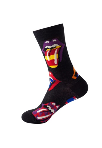 Kings Collection 黑色 玩味舌頭圖案舒適襪子 (均碼) HS202265 1829CAA673794EGS_1