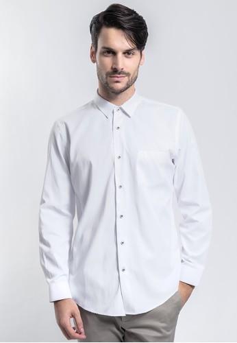 MANLY white MANLY Kemeja Slim Fit Plain Berryy White Long Sleeve 2224AAA060440DGS_1