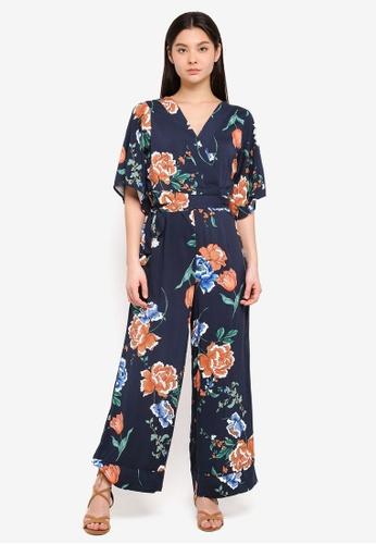 Cotton On blue and navy Woven Kassie Kimono Sleeve Jumpsuit 14FEEAA8173074GS_1
