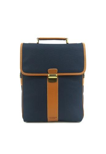 Kawamura blue Lotuff Natural Leather & Waxed Canvas 3ways Multi Backpack - Navy KA871AC86WXLHK_1