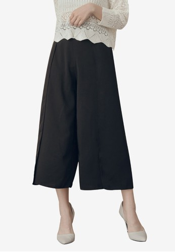 Kodz black Open Cut Culottes 1333FAA27B3BE8GS_1