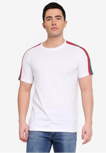 Jack & Jones white Jcocalvin Stripe Sleeve Tee 940D9AAF1FA136GS_1