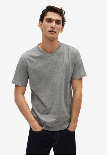 Mango Man grey Organic Cotton T-Shirt 7ACB6AA18A206BGS_1