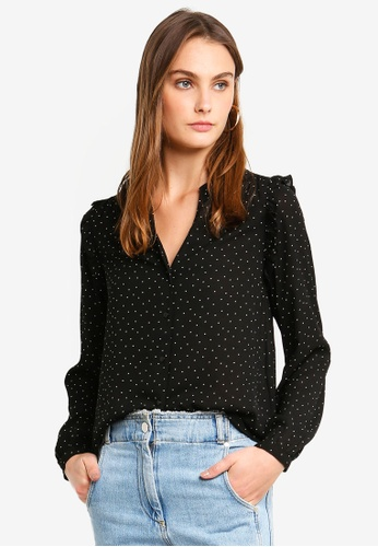 Vero Moda black Venice Long Sleeve Shirt DEE9BAAEF85D8AGS_1