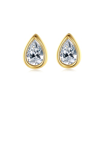 Glamorousky white 925 Sterling Silver Plated Gold Simple Fashion Water Drop-shaped Cubic Zirconia Stud Earrings A7D90AC83058A9GS_1