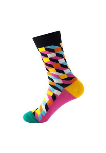 Kings Collection black Rhombus Pattern Cozy Socks (One Size) HS202385 220B3AA28DF5F0GS_1