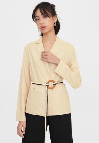 Pomelo beige Two Tone Rope Weave Belt Blazer - Beige 55B05AAE3681A6GS_1