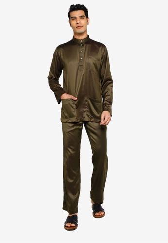 Fidelio green Jaspar Slim Fit Baju Melayu Modern 0EC4BAA4712810GS_1