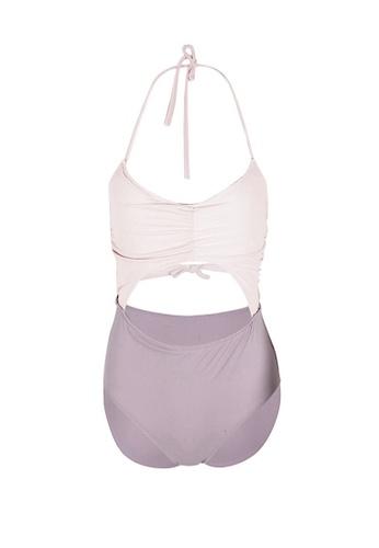 Glamorbit white Pink And Purple Duo Colour Monokini Swim Wear 298CEUSC13DBEFGS_1