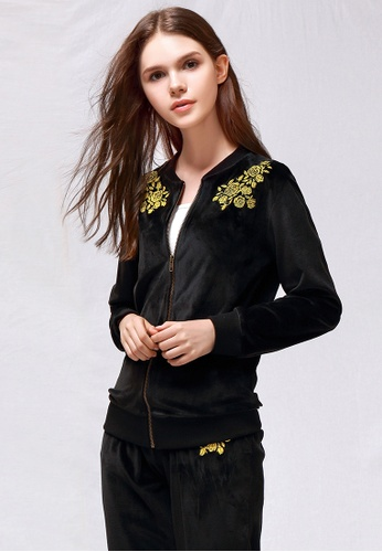 London Rag black Black Velvet Embroidery Jacket 5DD94AAD8F2B5BGS_1