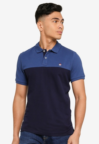 Springfield blue Organic Cotton Slim Fit Colour Block Polo 9070AAA453242EGS_1