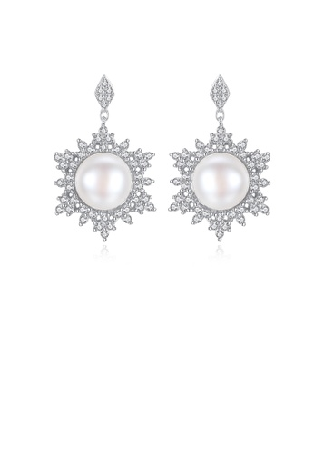 Glamorousky white 925 Sterling Silver Fashion and Elegant Snowflake White Freshwater Pearl Earrings with Cubic Zirconia 09AD5AC53D21DDGS_1