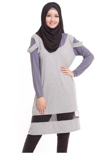 Mybamus Plain Sag Tops Gray