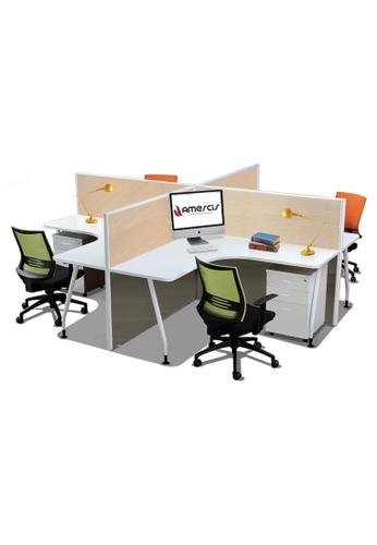 AMERCIS white Amercis Stamford + Shaped Workstation for 4 4D888HL816CD25GS_1
