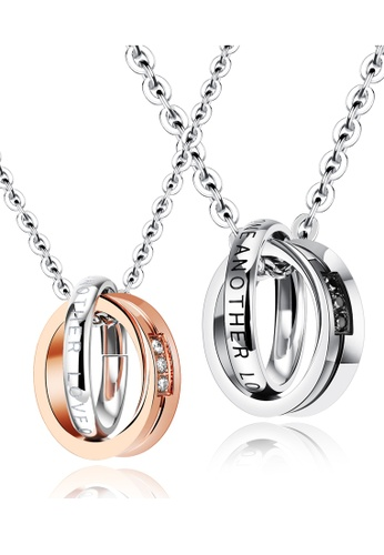 Trendyshop silver and gold Couples Pendant Necklace 1 Set D0397ACDDDACB5GS_1