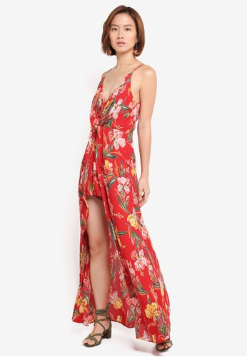 INDIKAH red Knotted Front Playsuit With Maxi Skirt 9325EAA9E6F35AGS_1
