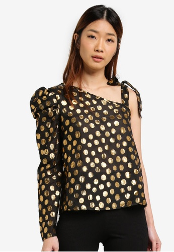 Miss Selfridge gold Gold Split Lurex One Shoulder Top 5C6A2AAF6BF53CGS_1