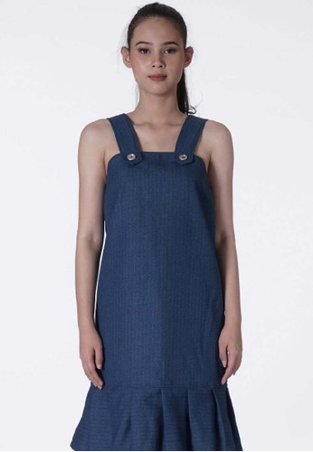 United Concepts blue Pinstriped Allover 'April' Overalls 03C79AA054BDE2GS_1