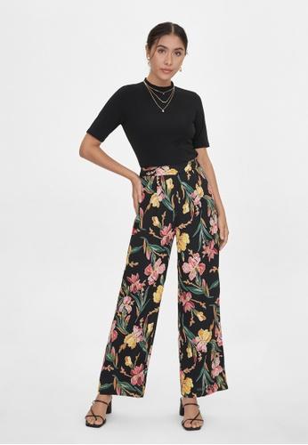 Pomelo black Wide Leg Floral Print Pants - Black 2637FAAC72198CGS_1
