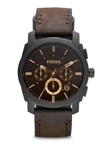 Fs4656 Dark Brown Black Machine Mid Size Chronograph Leather Watch