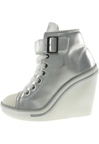 Maxstar 銀色 新款韩国鞋777-1Band-TC時尚帆布布混合女銀色 US Women Size MA345SH97HBATW_1