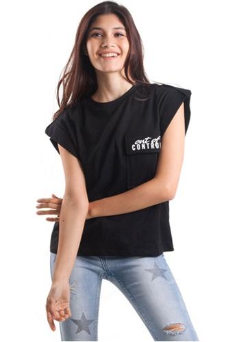 Kitschen black Oversized Casual Wording Knit Tee E4ACFAA2E73C3DGS_1