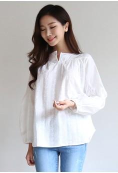 【ZALORA】 蕾絲刺繡襯衫上衣