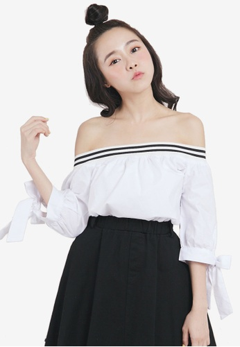 Tokichoi white Tie Detail Off Shoulder Top FE466AA6ADED44GS_1