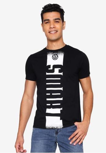 Volkswagen 黑色 品牌印花T恤 574BEAA0F1F660GS_1