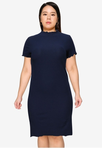 Only CARMAKOMA navy Plus Size Ally Short Sleeve Dress E03C9AA5ECB14BGS_1