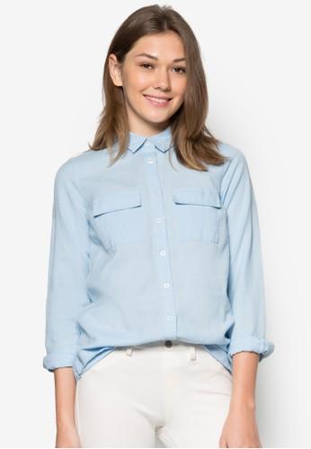 雙口袋長袖襯衫,zalora是哪裡的牌子 服飾, 服飾