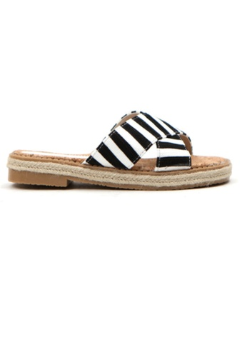 Crystal Korea Fashion black Korean Summer Wild Striped Cross Flat Slippers 57631SH93E272BGS_1