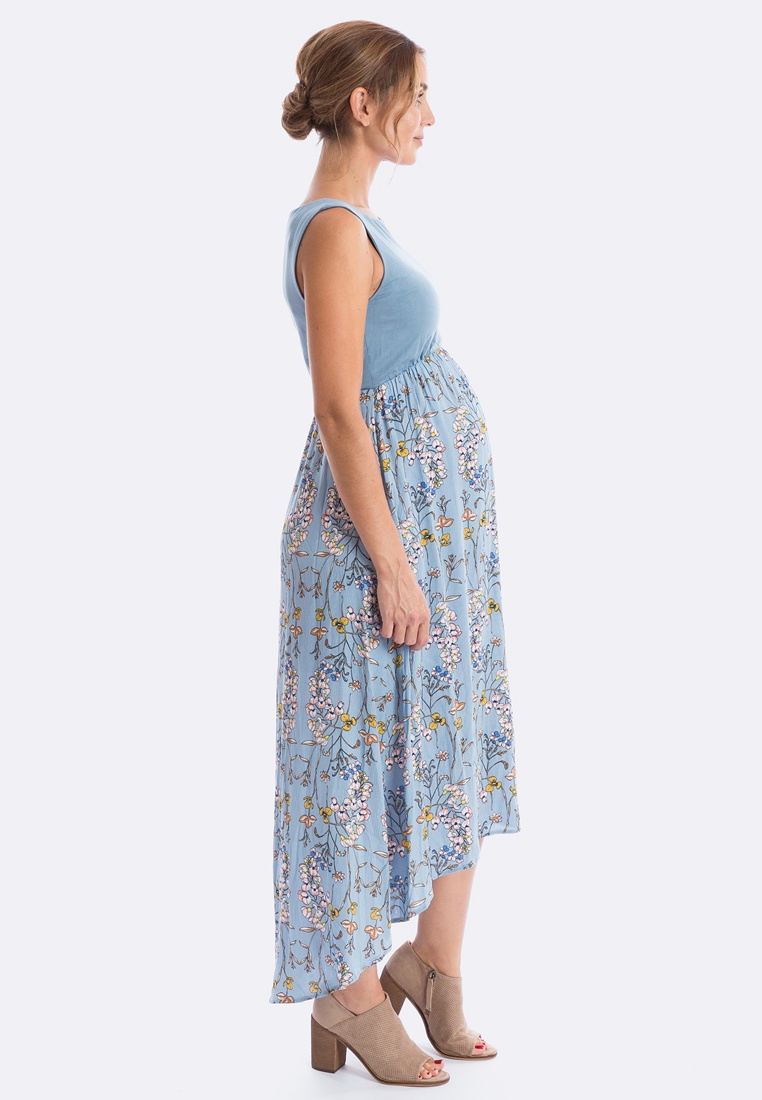 amp; Low Hi Maternity Dress Rosie Floral in Bo Capri Maive Blue AxwqUBdCq