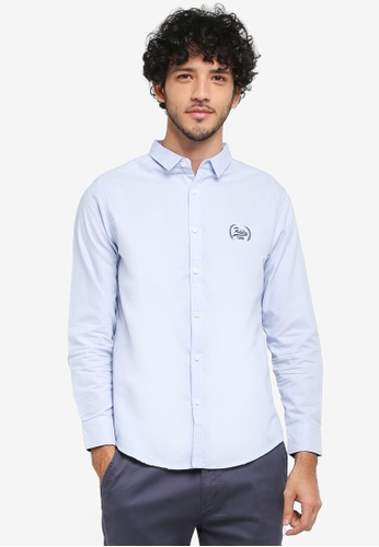 Fidelio blue Oxford Embroidery Long Sleeves Shirt B5A93AADF79283GS_1