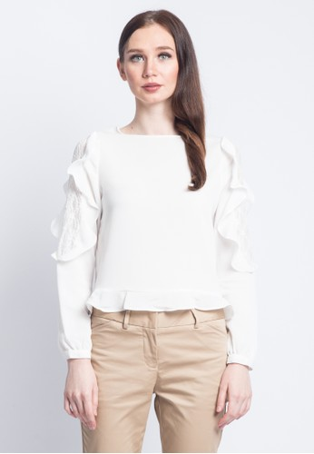 Valino White VALINO LADIES LONG SLEEVES LACED BLOUSE C6F89AABADA7E8GS 1