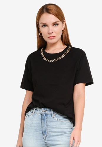 H&M black and multi Chain Detail T-Shirt 69B6CAABB2C5CEGS_1