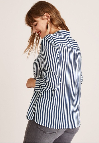 ca45ee51d08 Buy Violeta by MANGO Plus Size Striped Modal Shirt Online