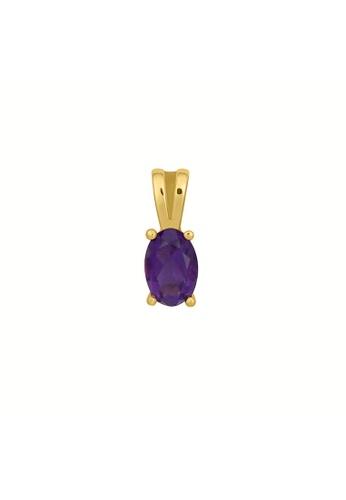 GEMLINE JEWELRY purple Birthstone Oval Pendant February- Amethyst colored Cubic Zirconia B754EAC226E6EFGS_1