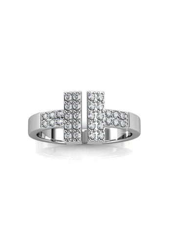 Her Jewellery silver Hermies Ring -  Made with premium grade crystals from Austria HE581AC0RDG2MY_1