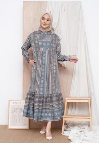 Zalima Zalima Radwah Printed Gamis in Mystic Grey 681BBAA1CD5274GS_1