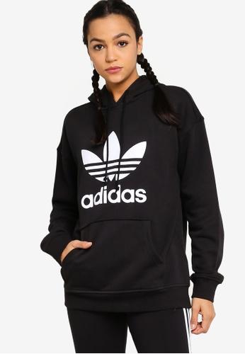 ADIDAS black adicolor trefoil hoodie C2784AA00CC469GS_1